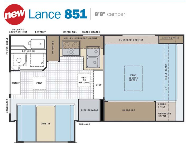 slide in truck campers by lance camper manufacturer lance campers model 851 floor plan